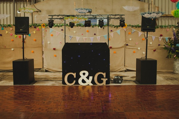 DJ equipment and dance floor at wedding