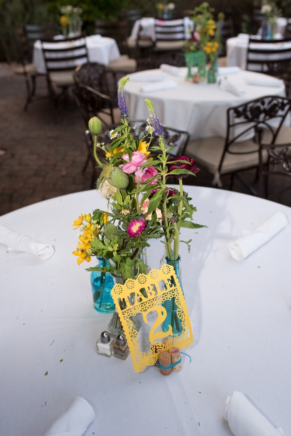 Flowers and Mexican themed wedding table number