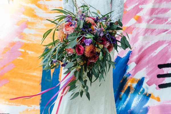 Bright, colourful bridal bouquet