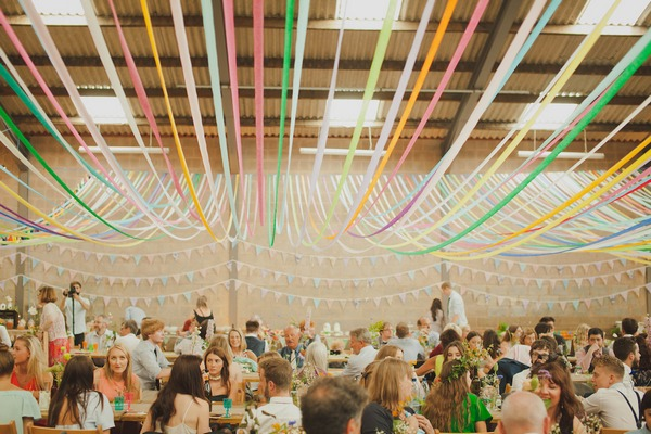 Streamers hanging from ceiling of aircraft hangar