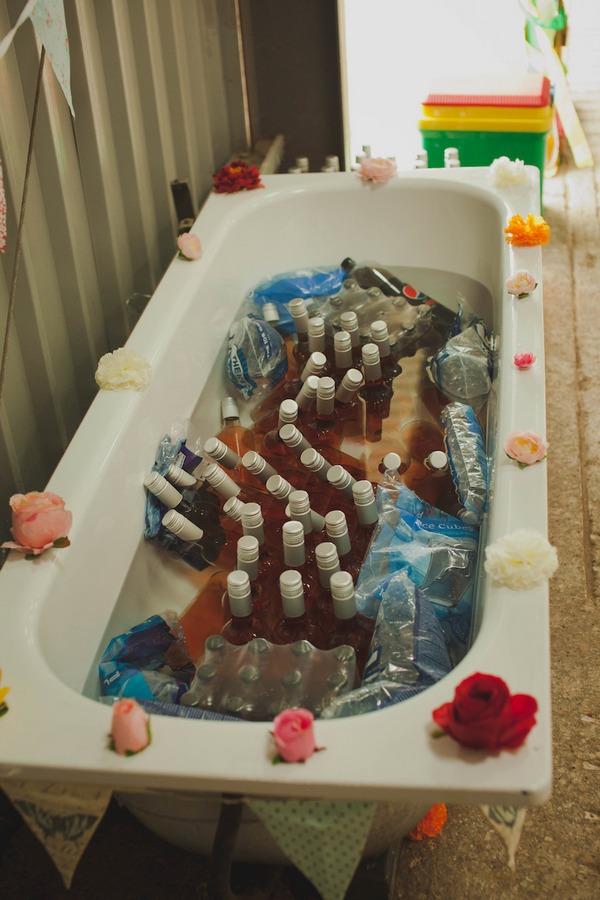 Bathtub full of bottles