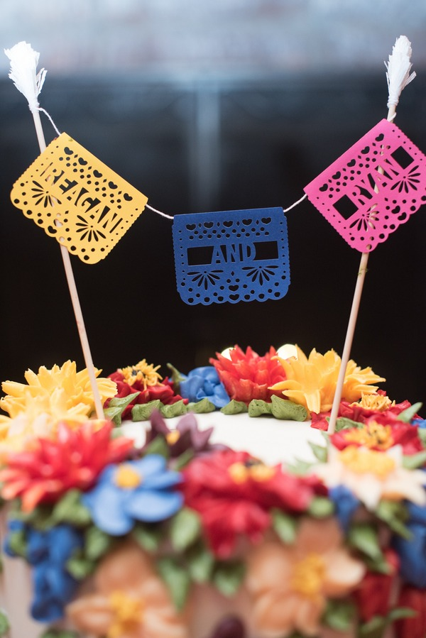 Colourful wedding cake banner