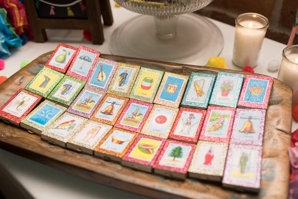 Loteria glitter matchbox Mexican wedding favours
