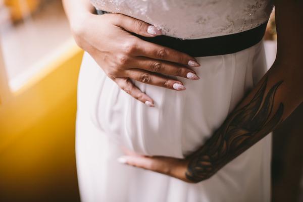 Pregnant bride's bump