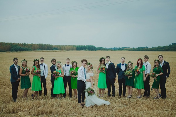 Bridal party in corn field