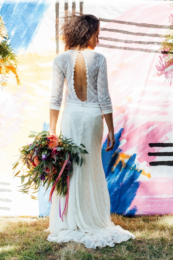 Open back of bride's dress