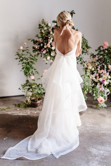 Back of Angela Wedding Dress with Train from the Karen Willis Holmes Spring Meadow 2017 Bridal Collection