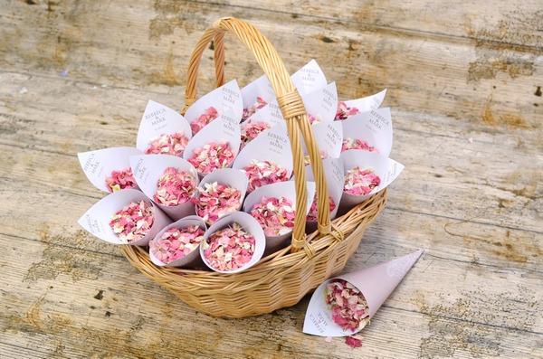 Bo-Peep Basket of Lace Theme Personalised Confetti Cones