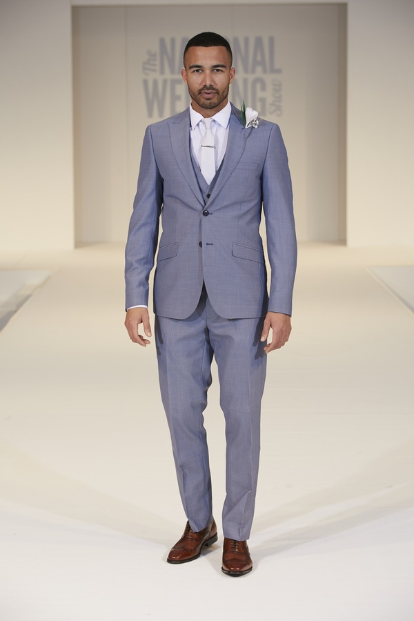 Moss Bros Blue Suit on The National Wedding Show Catwalk Spring 2017