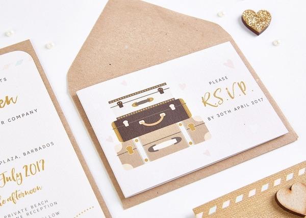 Pastel Plane and Suitcases Wedding Invitation Bundle