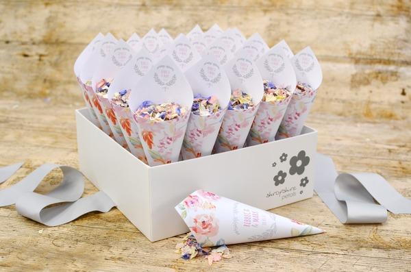 Shropshire Box of Cottage Garden Theme Personalised Confetti Cones
