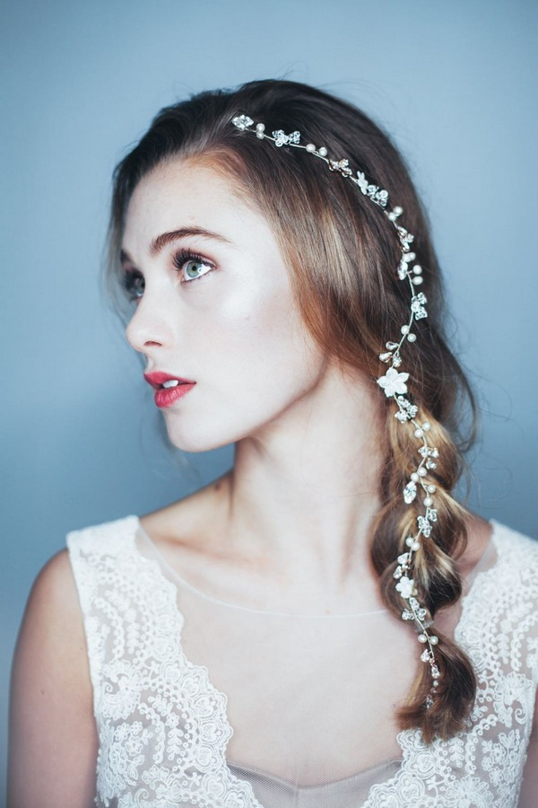 Single Braid Wedding Hairstyle with April Hair Vine