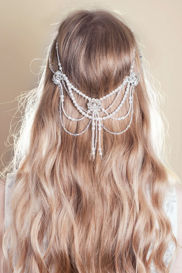 Soft Waves Wedding Hairstyle with Zara Forehead Band