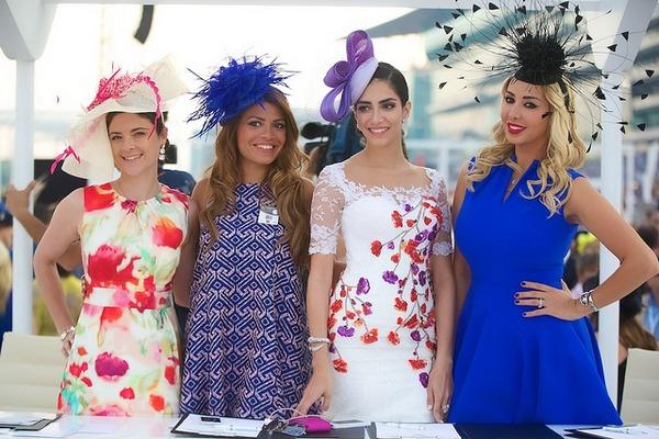 Glamorous women at horse racing