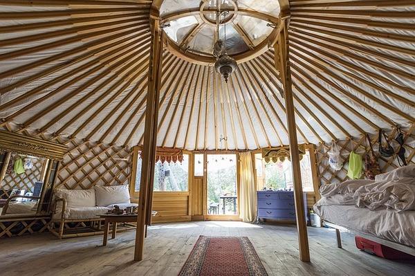 Inside of a yurt