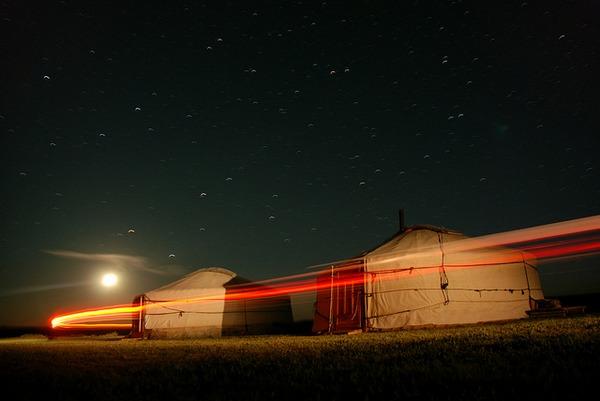 Glamping yurts at night