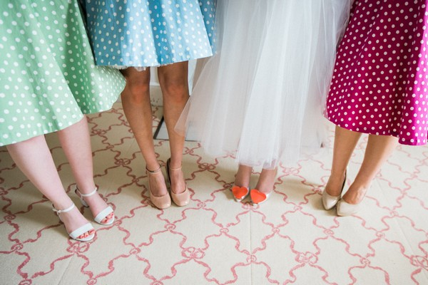 Bride and bridesmaids' shoes