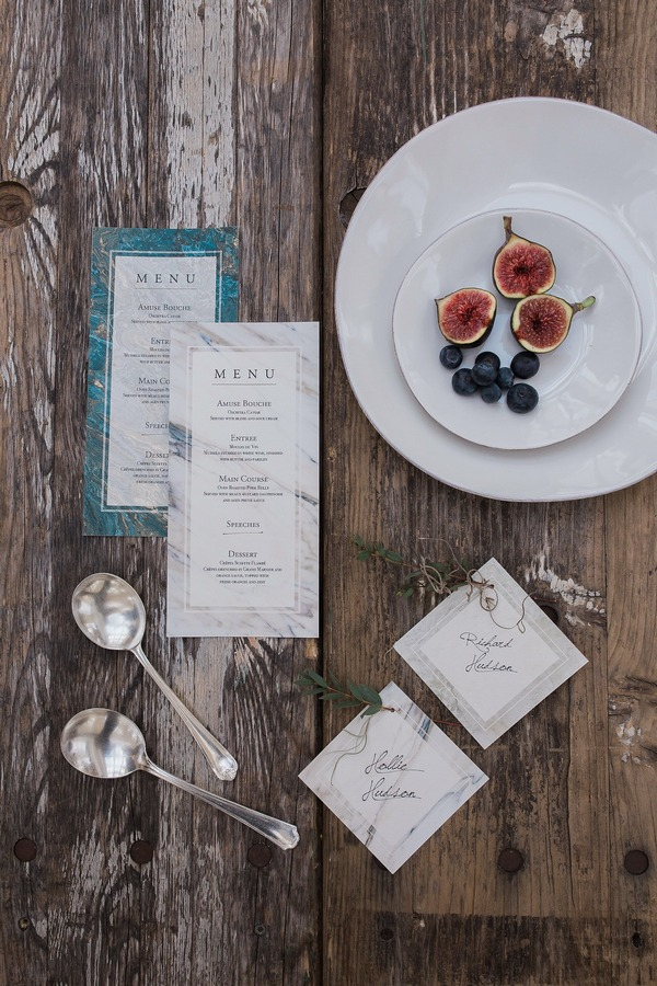 Wabi-sabi wedding place cards and menu