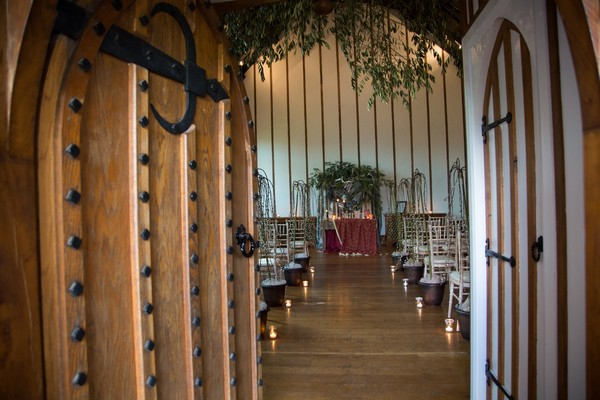 Entrance to wedding ceremony room at Bridwell