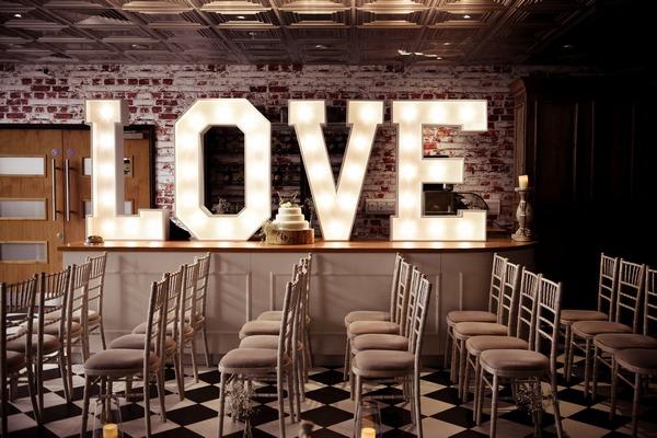 Large illuminated LOVE letters