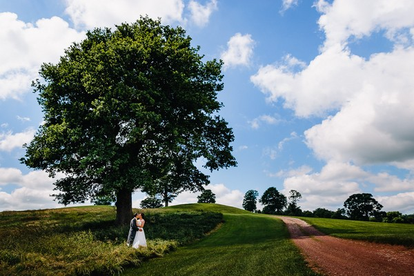 Bride and groom kissing under a tree - Picture by James Andrew Photography