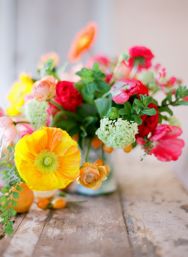 Bright and colourful table flowers