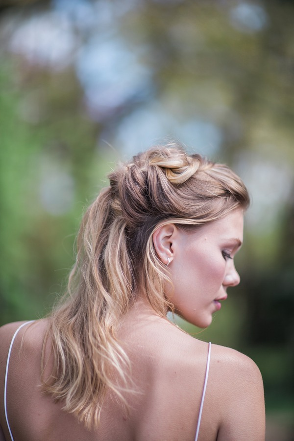 Side of bride's half up half down hairstyle