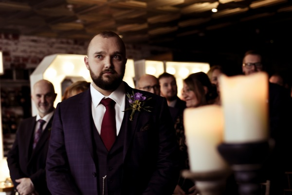 Nervous groom waiting for bride