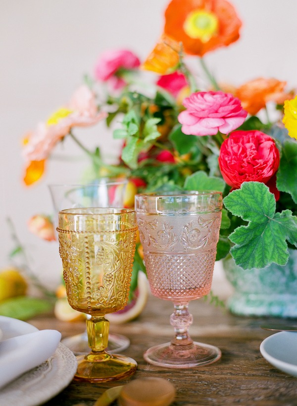 Coloured glass goblets