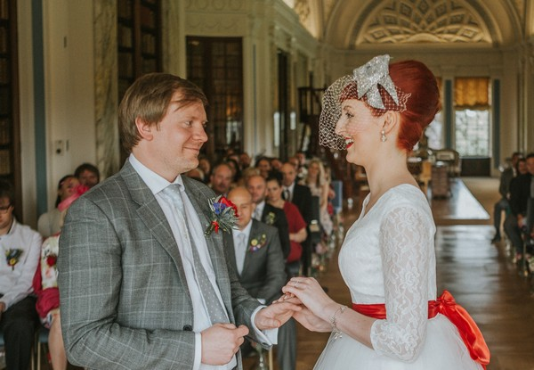 Bride and groom in wedding ceremony st Sledmere House