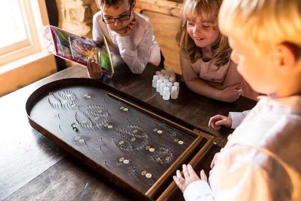Children playing game at wedding