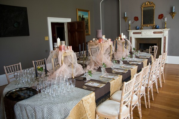 Table styling on long wedding table