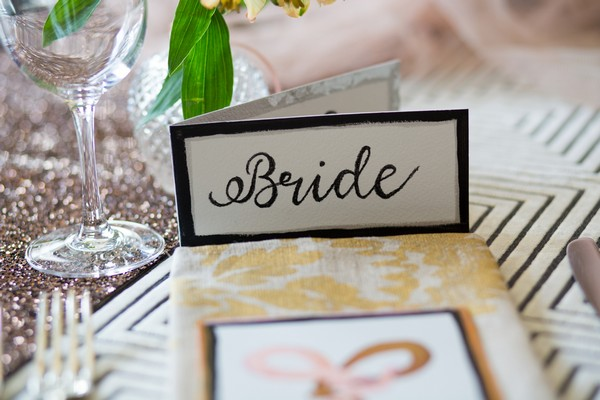 Bride wedding place setting