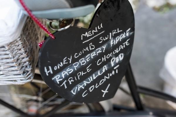 Ice cream menu on heart chalkboard