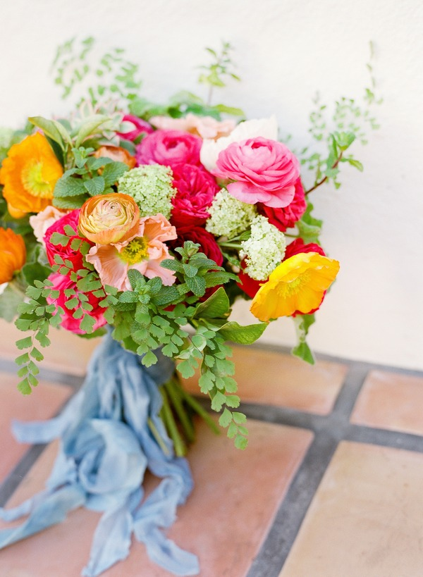 Bright coloured bridal bouquet