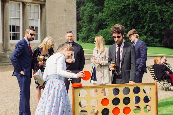 Wedding guest playing giant Connect 4