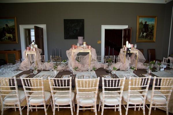 Long wedding table at Bridwell
