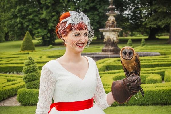 Bride holding owl