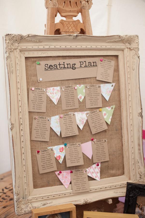Vintage styled wedding table plan