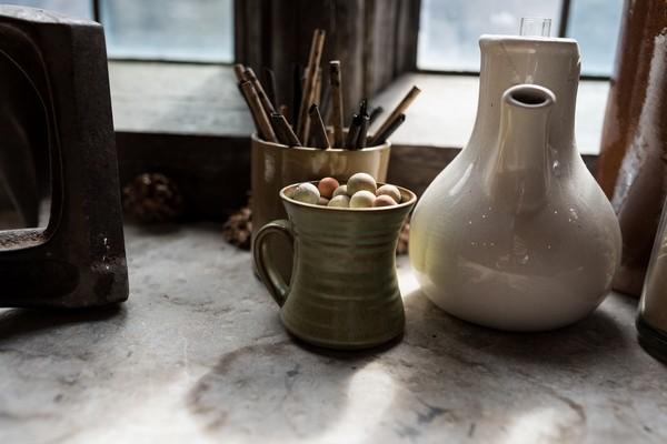 Pottery on window ledge