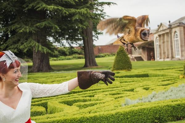 Owl flying off bride's hand