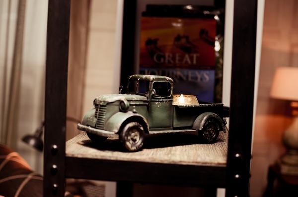 Toy truck on shelf