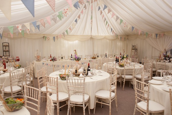 Wedding tables in marquee