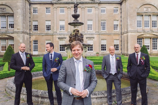Groomsmen in front of Sledmere House fountain