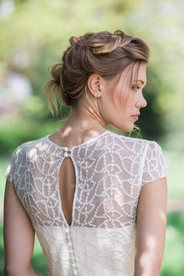 Side of bride's updo hairstyle