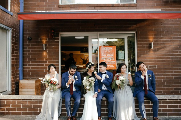 Bridal party eating ice cream