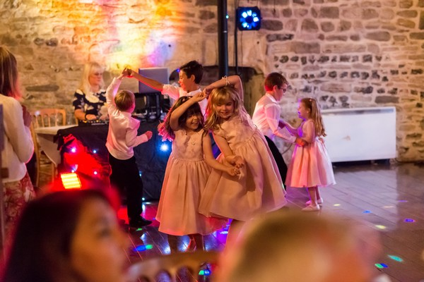 Children dancing at Scaplen's Court wedding