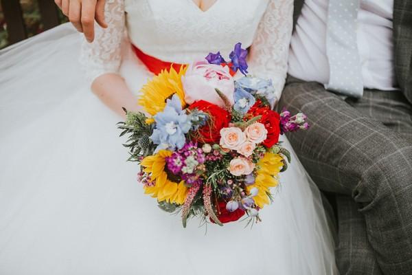 Bride's colourful wedding bouquet