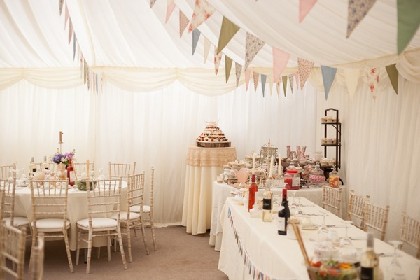 Wedding cake table in marquee
