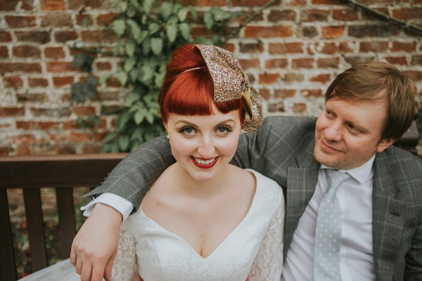 Vintage bride smiling